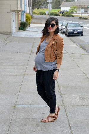 suede madewell jacket - Karen Walker sunglasses - harem nike pants - H&M sandals