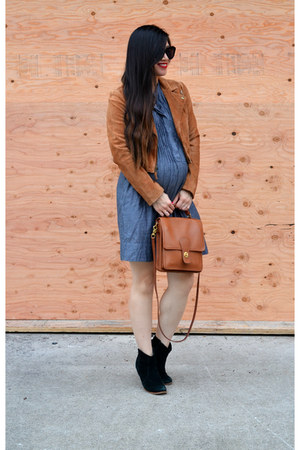 suede madewell jacket - asos boots - Gap dress - willis coach bag