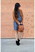 suede madewell jacket - asos boots - Gap dress - willis coach bag