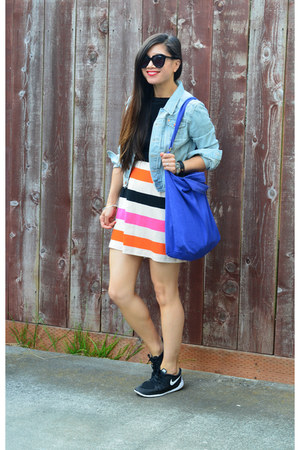 H&M dress - denim H&M jacket - baggu bag - Target t-shirt