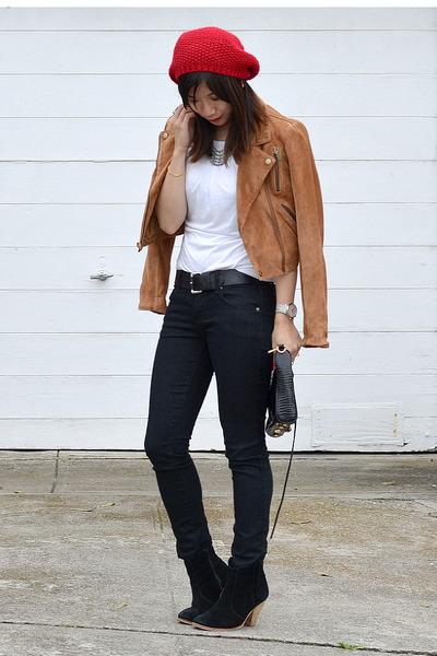 red knit Forever 21 hat - asos boots - Forever 21 jeans - Rebecca Minkoff bag