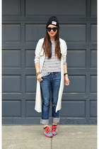 trench H&M jacket - American Eagle jeans - stripes H&M shirt - nike sneakers