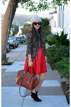 red Prabal Gurung x Target dress - asos boots - beanie H&M hat