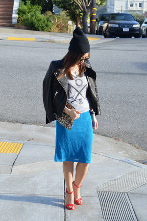 Derek Lam x Kohls skirt - beanie Curtis Kulig x UO hat - leather H&M jacket