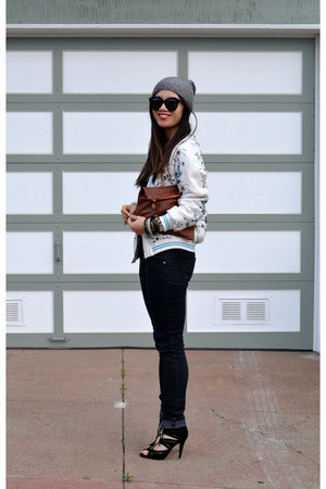 asian inspired Zara jacket - Forever 21 jeans - beanie H&M hat