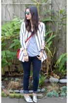 boyfriend Zara blazer - metallic Nordstrom shoes - Forever 21 jeans
