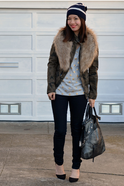 camo Zara jacket - Forever 21 jeans - stripe Gap hat - foley & corinna bag