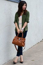 thrifted top - Paige jeans - Old Navy shirt - Michael Kors bag - Loft heels