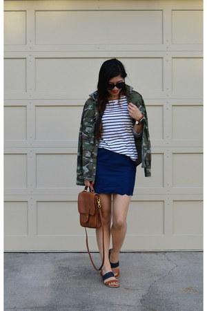 camo Ross jacket - stripes H&M shirt - willis coach bag