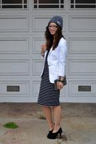 stripe French Connection dress - asos hat - whiet Zara blazer - Max Studio heels