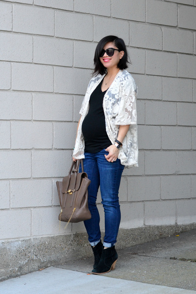 8e6c44bb609 kimono lace Forever 21 jacket - asos boots - Pea in the Pod Maternity jeans