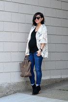 kimono lace Forever 21 jacket - asos boots - Pea in the Pod Maternity jeans