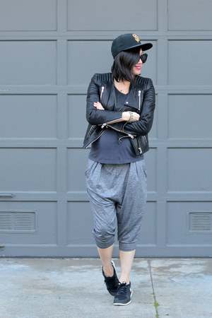 leather H&M jacket - harem Forever 21 pants - nike sneakers