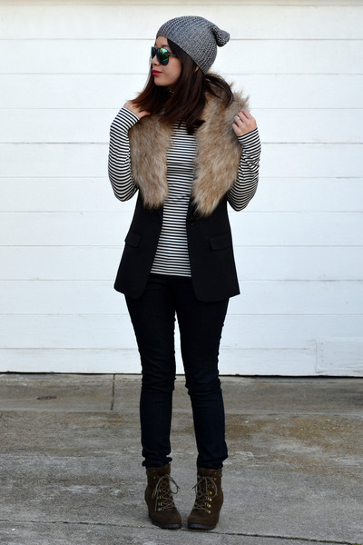 H&M hat - Old Navy boots - Forever 21 jeans - H&M vest - Uniqlo top