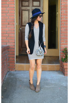 H&M vest - Ross boots - Amour Vert dress - Forever 21 hat