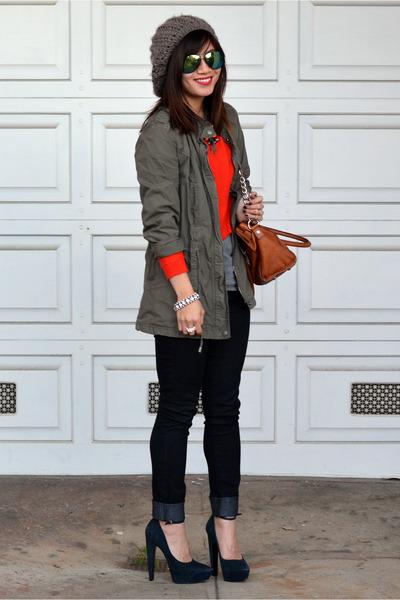 orange H&M sweater - Forever 21 jeans - Forever 21 hat - Zara jacket