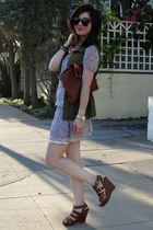 Old Navy vest - Ruehl dress - Cynthia Rowley for Target wedges