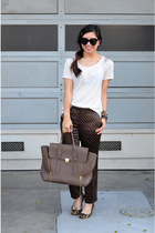 31 Phillip Lim bag - Karen Walker sunglasses - leopard print Gap flats