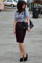 H&M skirt - Prada bag - mickey Forever 21 t-shirt - Max Studio heels