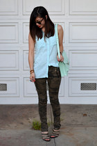 H&M shirt - loeffler randall bag - Karen Walker sunglasses - camo Zara pants
