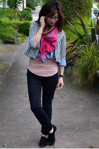 vintage scarf - lucca couture jacket - H&M top