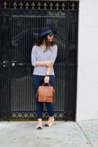 tweed LeBunny Bleu flats - Forever 21 jeans - Forever 21 hat - stripe H&M shirt
