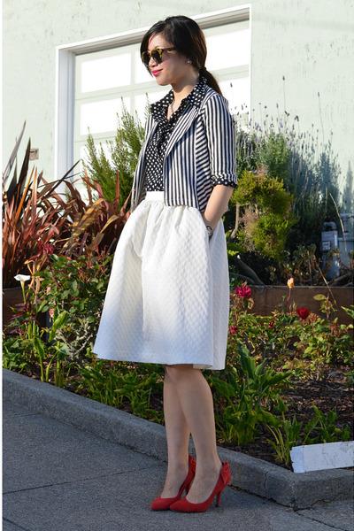H&M skirt - stripe Lucca Couture kids jacket - polka dot Popbasic shirt