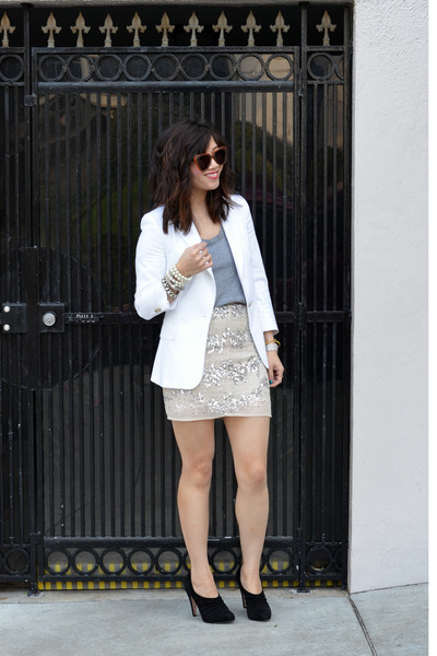 white Zara blazer - grey Forever 21 t-shirt - sequin H&amp;M skirt