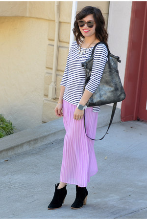Forever 21 skirt - asos boots - stripe H&amp;M shirt - foley &amp; corinna bag
