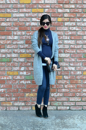 long H&M cardigan - asos boots - clutch Rebecca Minkoff bag