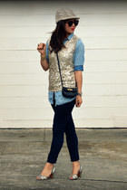 sequin JCrew top - Paige jeans - H&M hat - chambray H&M shirt