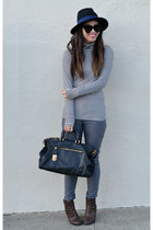 Forever 21 hat - ankle Ross boots - Forever 21 jeans - saffiano Prada bag