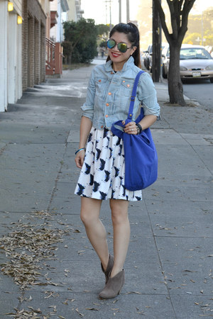 H&M dress - Ross boots - denim H&M jacket - canvas baggu bag