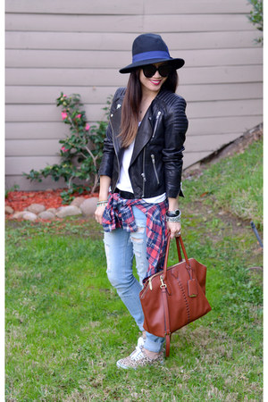 Forever 21 hat - ripped Ross jeans - leather H&M jacket