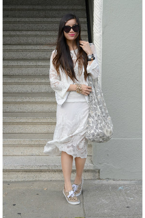 lace Zara dress - Karen Walker sunglasses - moto Zara vest