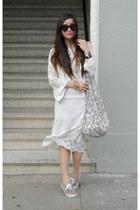 lace Zara dress - Karen Walker sunglasses - moto Zara vest