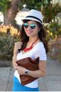 Red-h-m-necklace-target-hat-clare-vivier-bag-blue-derek-lam-x-kohls-skirt