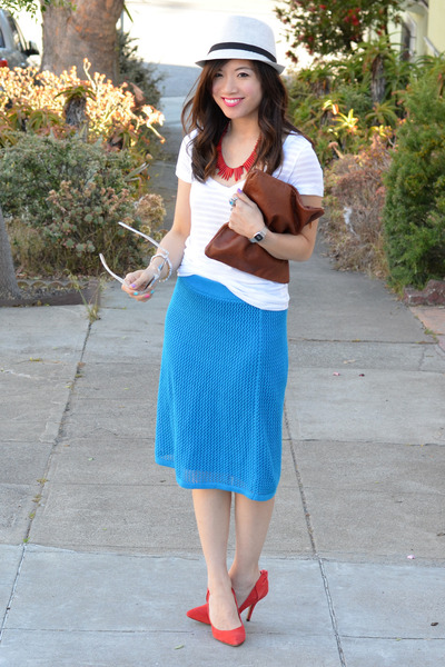 red H&M necklace - Target hat - Clare Vivier bag - blue Derek Lam x Kohls skirt