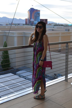 mara hoffman dress - coach purse - Karen Walker sunglasses - Madden Girl sandals