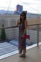 mara hoffman dress - coach purse - Karen Walker sunglasses - Madden Girl sandals
