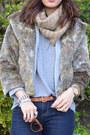 Faux-fur-thirfted-jacket-forever-21-jeans-karen-walker-sunglasses