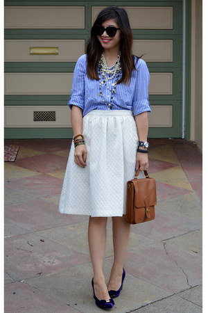 white H&M skirt - Gap shirt - willis coach bag - Karen Walker sunglasses