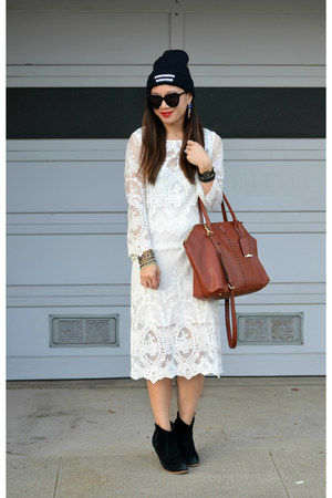 white lace Zara dress - black asos boots - 31 Phillip Lim x Target bag