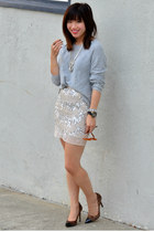 beaded H&M skirt - knit H&M sweater - leopard print Loft heels