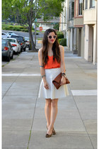 H&M top - Clare Vivier bag - leopard print Gap flats - banana republic skirt