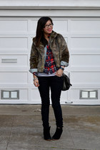 faux fur thrifted jacket - jean jacket H&M jacket - asos shoes