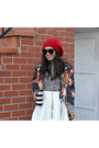 Beanie-forever-21-hat-floral-print-h-m-jacket-h-m-bag-vince-camuto-heels