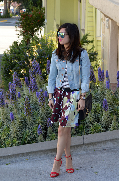 red Prabal Gurung x Target heels - denim H&M jacket - Rebecca Minkoff bag