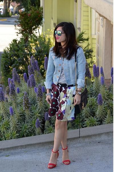 red Prabal Gurung x Target heels - denim H&M jacket - Rebecca Minkoff bag