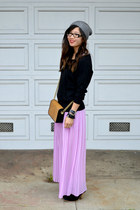 lavender Forever 21 skirt - asos boots - metallic H&M hat - black H&M sweater